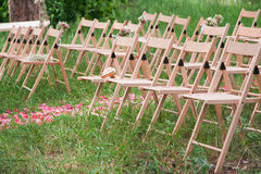 Reception wedding wood chairs Stock Photography