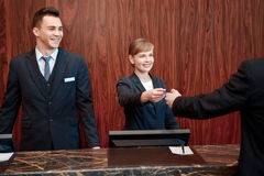 Reception at work in hotel Royalty Free Stock Photo