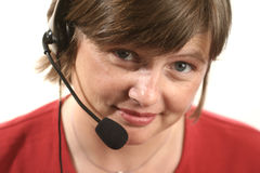 Receptionist. Woman with headset Stock Photos