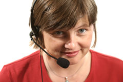 Receptionist. Woman with headset royalty free stock photos