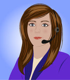 Receptionist. Wearing a headset and helping a customer Stock Photography