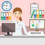 Receptionist, administrator, manager female. Friendly smiling woman on reception Royalty Free Stock Photography