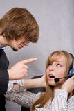 Receptionist and customer Royalty Free Stock Photo