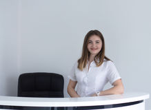 Receptionist at dental or medical clinic smiling royalty free stock photo