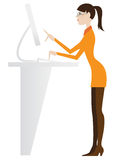 Receptionist girl at computer, secretary Royalty Free Stock Image