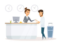 Receptionist and guest Stock Photography
