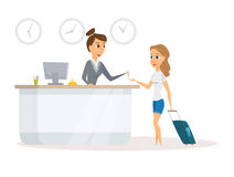 Receptionist and guest Royalty Free Stock Photos
