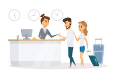 Receptionist and guest. Stock Image