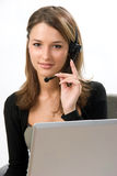 Receptionist with headset Royalty Free Stock Images
