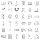 Receptionist icons set, outline style. Receptionist icons set. Outline style of 36 receptionist vector icons for web isolated on white background Stock Image