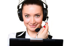 Receptionist with laptop Royalty Free Stock Images