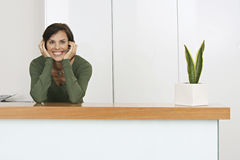 Receptionist standing behind reception desk, wearing telephone headset, smiling, portrait Stock Photos