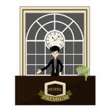 Receptionist standing at hotel luxury reception desk cartoon. vector Stock Photography