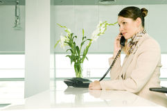 A receptionist talking on the telephone royalty free stock photo