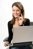 Receptionnist met hoofdtelefoon stock afbeelding