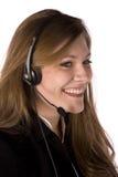 Receptor de cabeza que desgasta sonriente de la mujer Foto de archivo
