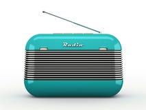 Receptor de radio del viejo estilo retro azul del vintage en los vagos blancos