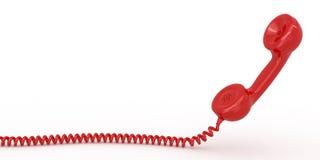 Receptor del teléfono en el fondo aislado blanco Imagen de archivo