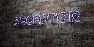 RECEPTOR - Glödande neontecken på stenhuggeriarbeteväggen - 3D framförde den fria materielillustrationen för royalty royaltyfri illustrationer