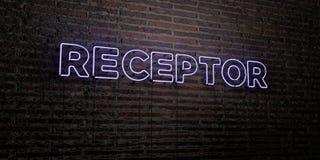 RECEPTOR - realistiskt neontecken på bakgrund för tegelstenvägg - 3D framförd fri materielbild för royalty stock illustrationer