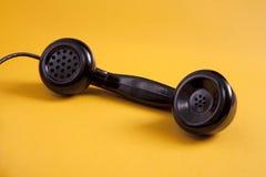 Receptor retro negro del teléfono Foto de archivo