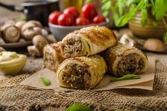 Recepy delicioso do rolo de salsicha Foto de Stock Royalty Free