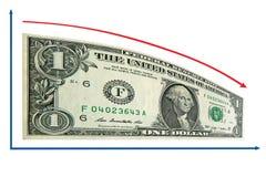 Recesión de las finanzas por 1 dólar diagrama. Aislado Imagen de archivo libre de regalías