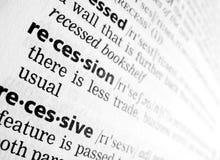 Recesión en diccionario Imágenes de archivo libres de regalías