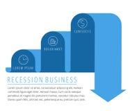 Recesión, flecha del negocio de la disminución Vector plano de disminución del gráfico Foto de archivo libre de regalías