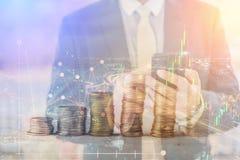 Recesja, globalnej gospodarki kryzysu pojęcie Opadająca akcyjna ocena Zdjęcia Stock