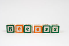 Receso en letras de molde Fotografía de archivo libre de regalías