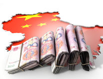 Recessed Country Map And Cash China Stock Images