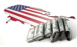 Recessed Country Map And Cash USA Royalty Free Stock Photo