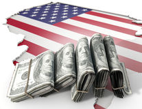 Recessed Country Map And Cash USA Stock Images