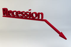 Recession. The word recession with a graph and downward pointing arrow all in red set against a white background Stock Photos