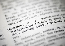 Recession. Closeup image of the word Recession in dictionary stock photos