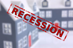 Recession. Blurred model houses in background with a RECESSION stamp in the foreground vector illustration