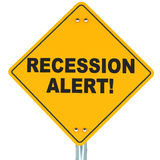 Recession alert. Economic recession alert concept, text on a yellow road warning sign, white background Royalty Free Stock Photography