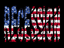 Recession with American flag vector illustration