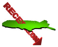 Recession arrow with USA map Royalty Free Stock Photography