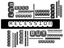 RECESSION - BOOM - image with words associated with the topic STOCK EXCHANGE, word cloud, cube, letter, image, illustration Royalty Free Stock Images