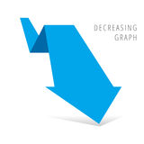 Recession Business Concept. Reduction graph concept. Blue arrow depict recession business. Flat illustration of fallof arrow with shadow as an element for Stock Photos