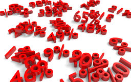 Recession and business loss concept of red numbers and percentages fallen on the ground Royalty Free Stock Photography