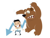 Recession cartoon with man and bear Stock Photography