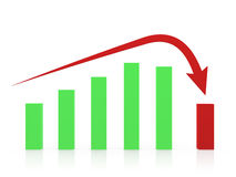 Recession Chart. And red arrow, isolated on white background Stock Photo