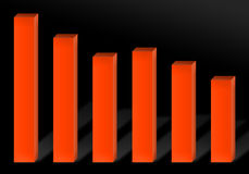 Recession Chart. A 3d red bar chart illustration showing economic decline or recession Stock Photography