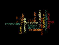 Recession collage of words. On black Stock Photos