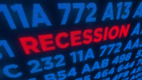 Recession concept. Recession business and stock crisis concept. Economy crash and markets down 3D illustration. Screen pixel style stock photo