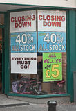 Recession continues. Another shop closing with reductions of 40% a sign that the recession is not over for some businesses Royalty Free Stock Photo