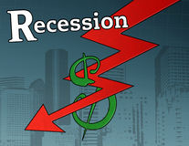 Recession Crisis Graphic. A descending red recession arrow destroying a dollar sign in front of a city and grid backdrop Royalty Free Stock Image